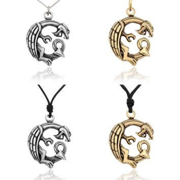 Unique Dragon Ouroboros Silver Pewter Gold Brass Charm Necklace Pendant Jewelry