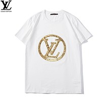 LV Louis Vuitton Summer Fashion New Bust Sequin Letter Women Men Top T-Shirt White