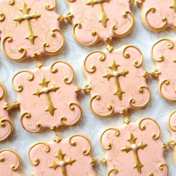Elegant Marbled Cross Cookies - One Dozen Decorated Sugar Cookies