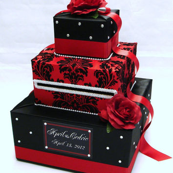 Black and Red Damask Wedding Card Box-Rhinestone accents-Red Roses
