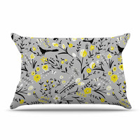 "Laura Nicholson ""Blackbirds On Gray"" Gray Yellow Pillow Case"