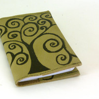 Leather Notebook - Refillable - Swirly Tree on Beige- christmasinjuly