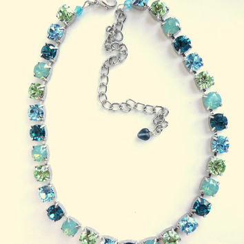 swarovski crystal necklace, blue and green, better than sabika, GREAT PRICE