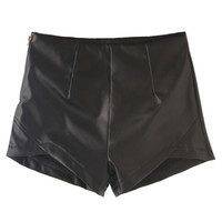 Black Scallop Hem High Waist PU Shorts