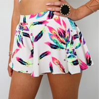FESTIVAL NEON RAINBOW FEATHER PRINTS SKATER FLARE BEACH SHORTS 6 8 10 12