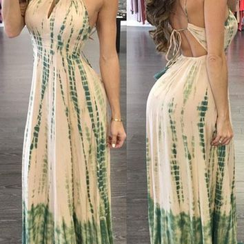 Beige-Green Patchwork Tie Back Draped Halter Neck Spaghetti Strap Bohemian Maxi Dress