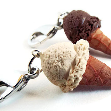 Polymer Clay Ice Cream Cone Charms Set -  Realistic Ice Cream Cone Keychains - Vanilla Ice Cream Cone Charm - Chocolate Ice Cream Cone Charm