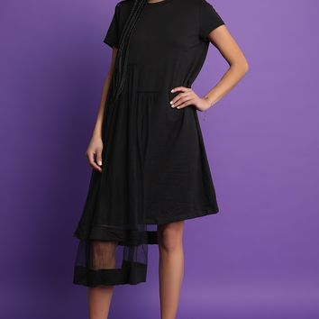 Asymmetrical Tulle Mesh Midi Dress