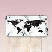 World Map Marble Print Phone Case- iPhone 6 Case - iPhone 5 Case - iPhone 4 Case - Samsung S4 Case - iPhone 5C - Tough Case - Matte Case