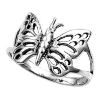 Polished Sterling Silver Butterfly Ring