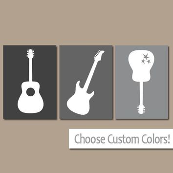 Gray GUITAR Wall Art, Music Theme Nursery Boy Bedroom Pictures, CANVAS or Prints Music Art Rock N Roll Rock and Roll Set of 3 Boy Nursery
