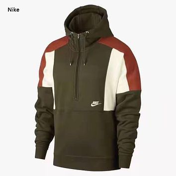 NIKE New fashion letter hook hooded long sleeve sweater men Army green