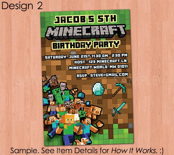 Minecraft Invitation Printable From Papercarousel On Etsy