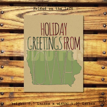Happy Holidays From Iowa - Holiday Greeting Card - Funny Christmas Card - Iowa Christmas Card - Iowa Pride Card - Custom Card