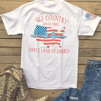 Our My Country 'Tis Of Thee Short Sleeve Tee By Southern Girl Prep is too adorable! It's a short sleeve tee with logo on front and America with flag on the back with ''My country 'tis of thee sweet land of liberty''. Pre shrunk and unisex fit.