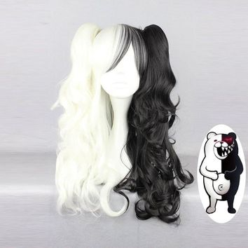Danganronpa Monokuma Women Long Ponytails Curly Wig Cosplay Costume White Black Mix Heat Resistant Synthetic Hair Party Wigs