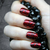 Japanese Nail Art- Red Gothic Baroque Press On Fake Nails