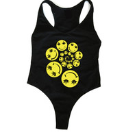 Smiley Spiral Black Bodysuit