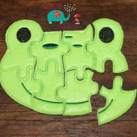 Felt frog puzzle embroidered embroidery jigsaw puzzle, learning toy, activity, quiet game, kids toys montessori, homeschool, busy book