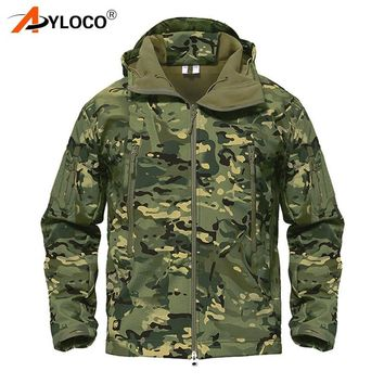 Trendy Winter Shark Skin Soft Shell Jackets Army Camouflage Coat Military Tactical Jacket Men Waterproof Windbreaker Tactical Clothes AT_94_13
