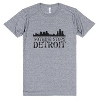 Nothing Stops Detroit-Unisex Athletic Grey T-Shirt