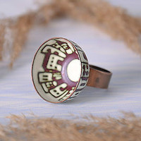 Copper handmade ring designer's women's accessories enameled jewelry fashionable