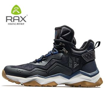 RAX Men's Waterproof Hiking shoes woman Anti-slip Trekking Mountaineer Shoes for Winter Warming of Genuine Leather outdoor shoes