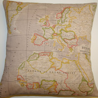FREE DELIVERY World Map Atlas Fabric Europe Africa America Pillow Cushion Cover
