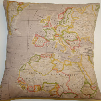 FREE DELIVERY World Map Atlas Fabric from VintageDesignsReborn on