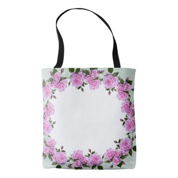 Pink Floral All Over Print Tote Bag