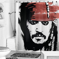 Jack Sparrow Johnny Depp Pirate of the caribbean shower curtain