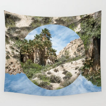 Desert Oasis Wall Tapestry, Palm Trees, Dorm Decor, Paradise Tapestry, Tropical Decor, California Tapestry, Joshua Tree, Surreal Decor