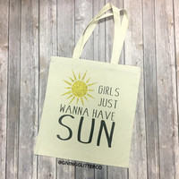 Girls Just Wanna Have Sun // Glitter Tote Bag