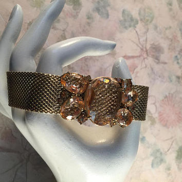 Vintage Gold Mesh Bracelet With Light Pink Stones, Signed Monet, Special Occasion