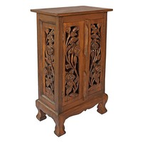 EXP Decor Vintage Roses Storage End Table (Brown)