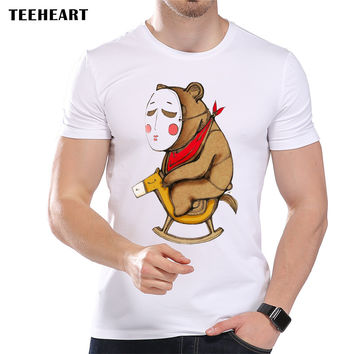Men's Vintage No Face Bear Printed T-Shirt Cool Summer Modal Animal Hipster Top Tees