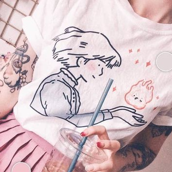 PUDO XHM Sophie Kisses Calcife T-Shirt Women Tumblr Aesthetic Japanese Anime Kawaii Graphic Tee Howl's Moving Castle Shirt