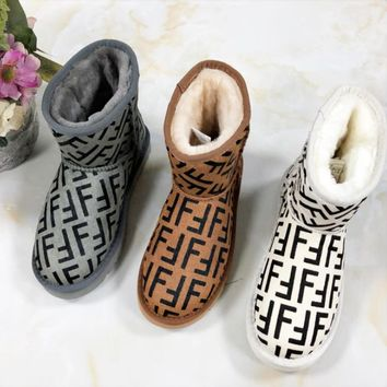 Fendi Women New Fashion High Quality Letter Print Shoes Keep Warm Snow Boots