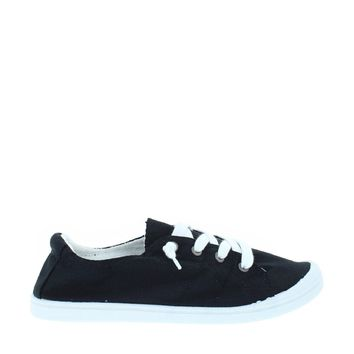 Lace Up Comfort Plimsoll (Black/White)