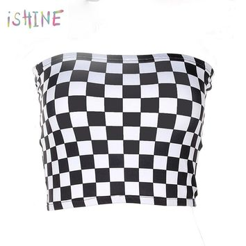 Women Black And White Plaid Tube Top 2018 Fashion Sexy Strapless Checkboard Cropped Tops Bandeau Vest Tops Underwear Bras