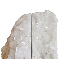 High Street Market - Large Natural White Quartz Bookends