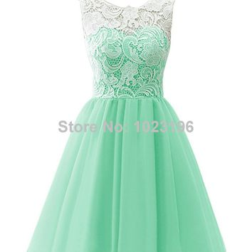 2017 New Short Mint Green Lace Chiffon Prom Dress Zipper With Button Back Homecoming Party Dresses Short Junior Prom Dresses