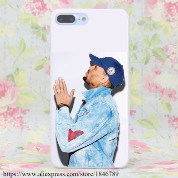 294J CHRIS BROWN Hard White Cover for iPhone 7 7 Plus 6 6s Plus 5 5S SE 5C 4S Cases