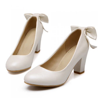 High Heel Low-cut Bowknot Work Shoes Plus Size  white