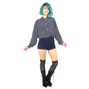 Vintage 80s Star Print Blouse Cosmic Night Sky Navy Button Down Shirt Polka Dot Chest Pocket Collared Shirt (M/L)