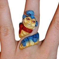 HandMade Labyrinth Worm Ring by ArtByAelia on Etsy