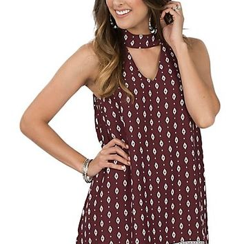 Peach Love Women's Maroon & White Boarder Print Dress