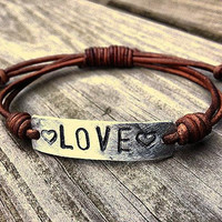 Silver LOVE bracelet id Leather Hand Stamped by DESIGNbyANCE