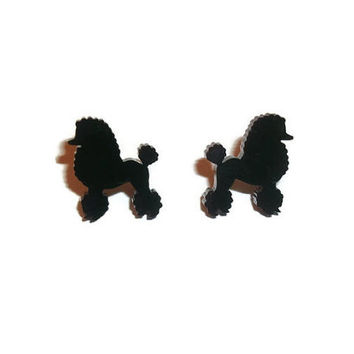 Black Poodle Earrings, Kitsch Rockabilly Cute Dog Stud Earrings