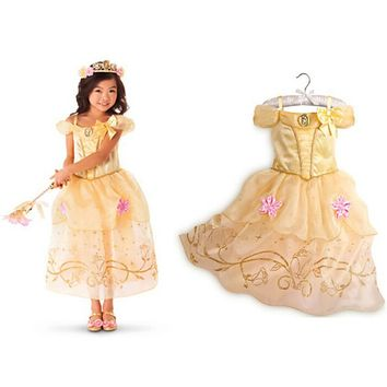 NEW Belle Dress for Kids Costume Rapunzel Party Wedding Dress Costume Kids Girls Princess Dress Sleeping Beauty Aurora Dresses